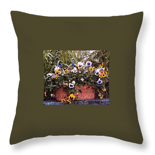 Flowers Throw Pillow featuring the photograph Bucket Of Flowers by Donna Bentley