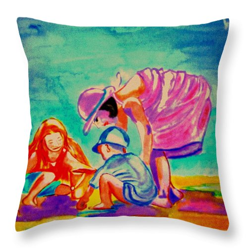 Beach Throw Pillow featuring the painting Buckets And Spades by Rusty Gladdish