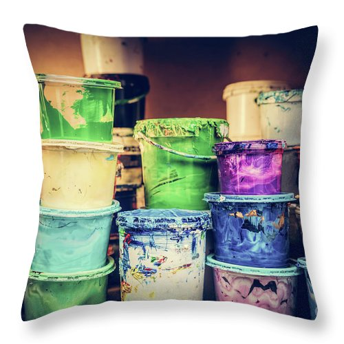 Paint Throw Pillow featuring the photograph Buckets Of Liquid Paint Standing In A Workshop. by Michal Bednarek