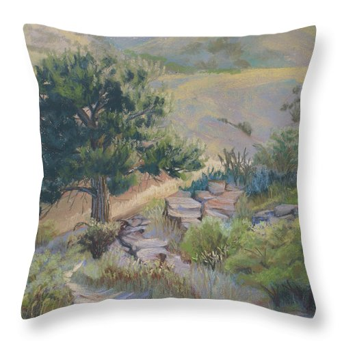 Pine Tree Throw Pillow featuring the painting Buckhorn Canyon by Heather Coen