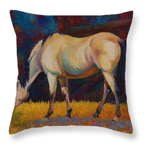 Horses Throw Pillow featuring the painting Buckskin by Marion Rose