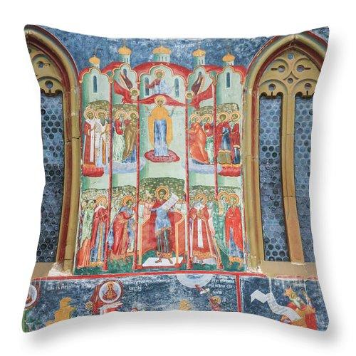 Bucovina Throw Pillow featuring the photograph Bucovina Monastery Fresco by Emily M Wilson