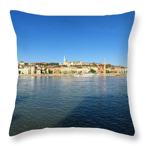 Budapest Throw Pillow featuring the photograph Budapest and Danube Panorama by Matthias Hauser