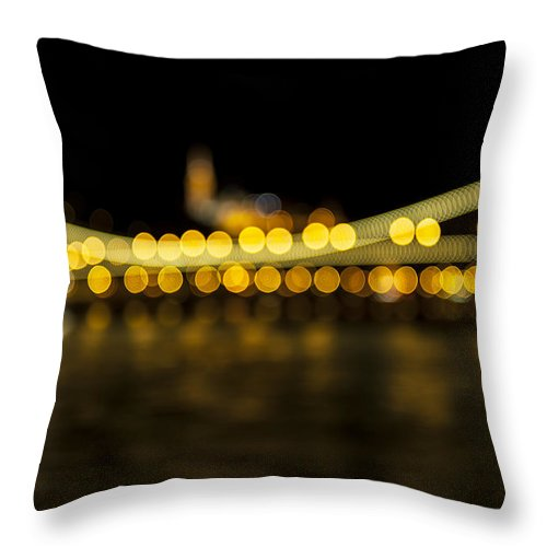 Bokeh Throw Pillow featuring the photograph Budapest Bokeh Bridge 2 by Pam Elliott