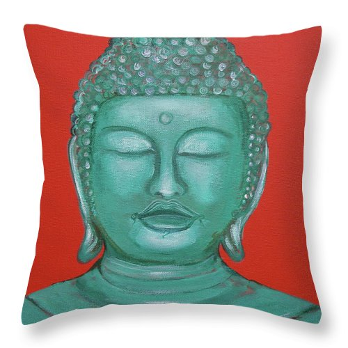 Buddah Throw Pillow featuring the painting Buddah I by Sue Wright