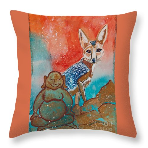 Illsa Millermoon Throw Pillow featuring the painting Buddha And The Divine Kit Fox No. 1373 by Ilisa Millermoon