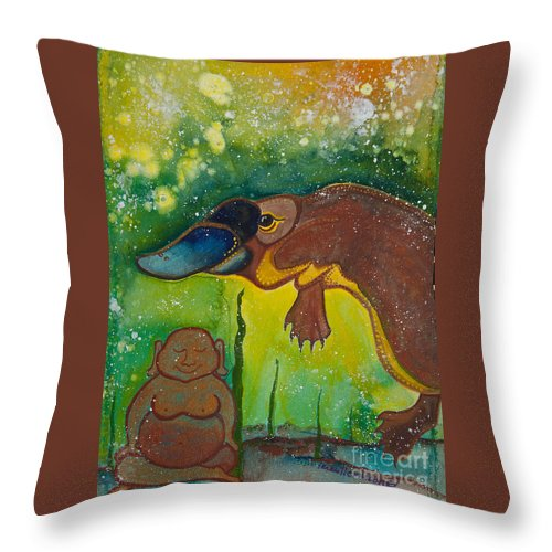 Illsa Millermoon Throw Pillow featuring the painting Buddha And The Divine Platypus No. 1375 by Ilisa Millermoon
