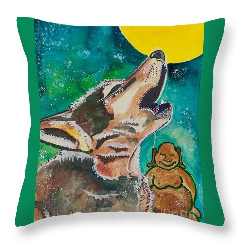 Illsa Millermoon Throw Pillow featuring the painting Buddha And The Divine Wolf No. 1370 by Ilisa Millermoon