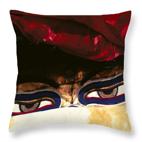 Eyes Throw Pillow featuring the photograph Buddha Eyes by Patrick Klauss