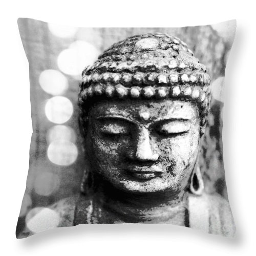 Buddha Throw Pillow featuring the mixed media Buddha by Linda Woods