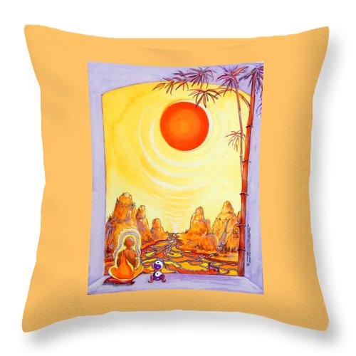 Buddha Meditation Throw Pillow featuring the painting Buddha Meditation by Caroline Patrick