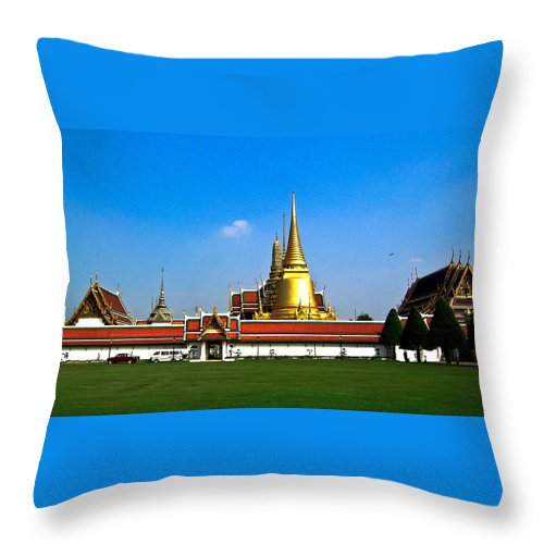 Buddha Throw Pillow featuring the photograph Buddhaist Temple by Douglas Barnett