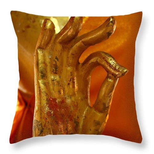 Buddhism Throw Pillow featuring the photograph Buddhism Symbols by Minaz Jantz