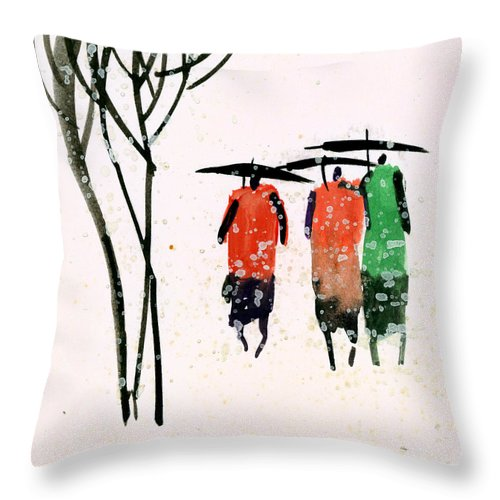 People Throw Pillow featuring the painting Buddies 3 by Anil Nene