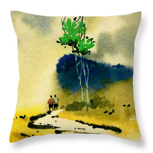 Landscape Throw Pillow featuring the painting Buddies by Anil Nene