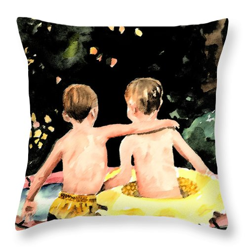 Boys Throw Pillow featuring the painting Buddies by Arline Wagner