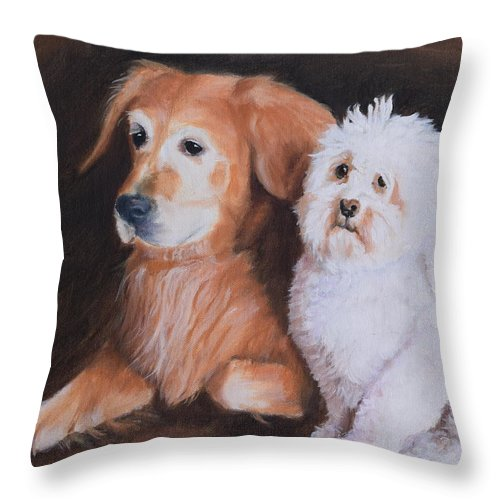 Pet Portrait Throw Pillow featuring the painting Buddies by Larry Carmack