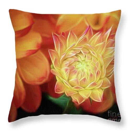 Dahlia Throw Pillow featuring the photograph Budding Dahlia by Warrena J Barnerd