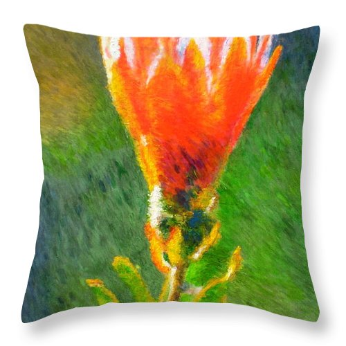 Protea Throw Pillow featuring the painting Budding Protea by Michael Durst