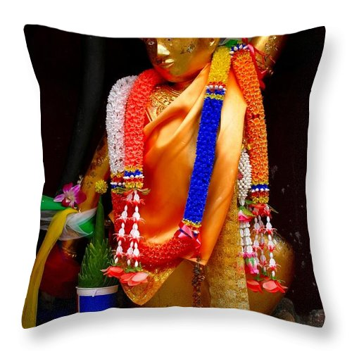 Buddism Throw Pillow featuring the photograph Buddism And Pepsi Shrine by Minaz Jantz