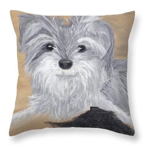 Dog Throw Pillow featuring the painting Buddy by Debbie Levene