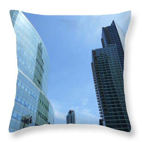 Citi Corp Center Throw Pillow featuring the photograph Bue Behemoths by Cate Franklyn