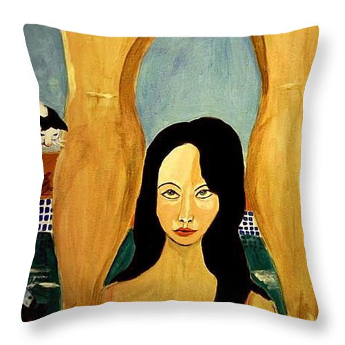 Cat Throw Pillow featuring the painting Buena Vista by Rusty Gladdish