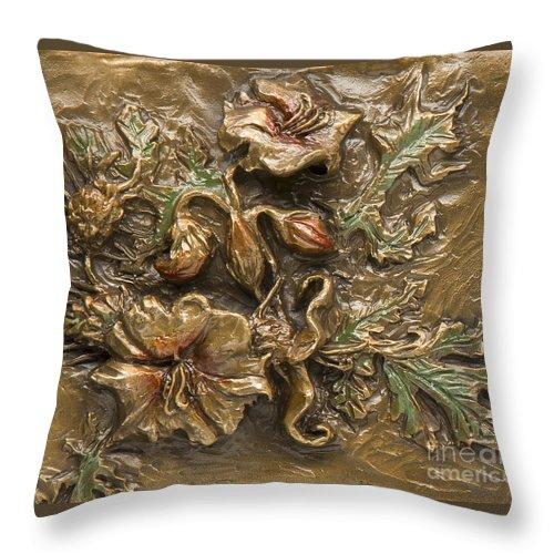 Flower Throw Pillow featuring the sculpture Buffalo Burr Flower by Dawn Senior-Trask