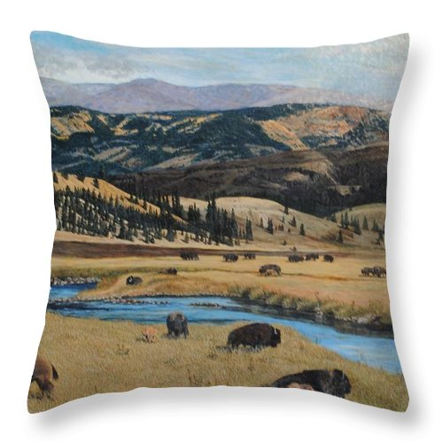 Colorado Throw Pillow featuring the painting Buffalo By A Stream by Paul Larson