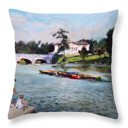 Landscape Throw Pillow featuring the painting Buffalo Fishing Day by Ylli Haruni
