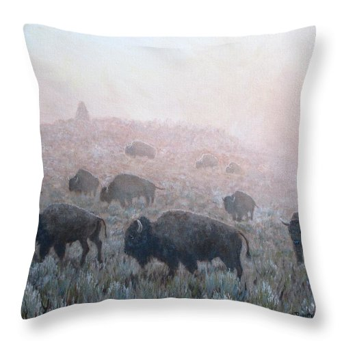 Western Art Throw Pillow featuring the painting Buffalo in Yellowstone Fog by Scott Robertson