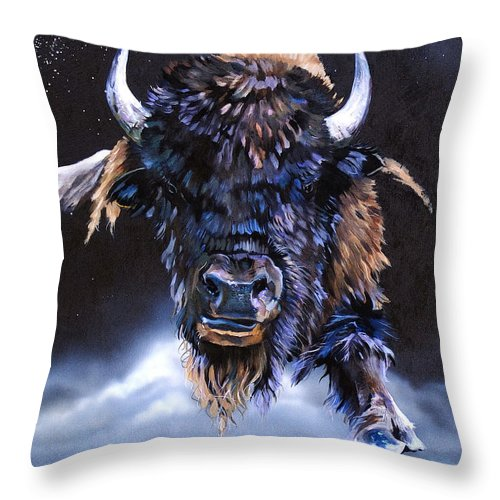 Buffalo Throw Pillow featuring the painting Buffalo Medicine by J W Baker