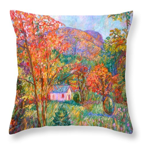 Landscape Throw Pillow featuring the painting Buffalo Mountain In Fall by Kendall Kessler