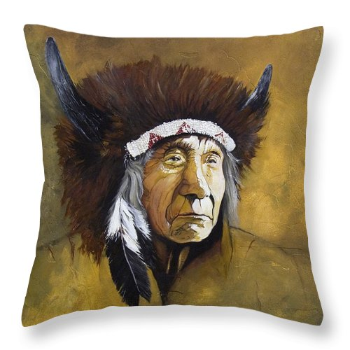 Shaman Throw Pillow featuring the painting Buffalo Shaman by J W Baker