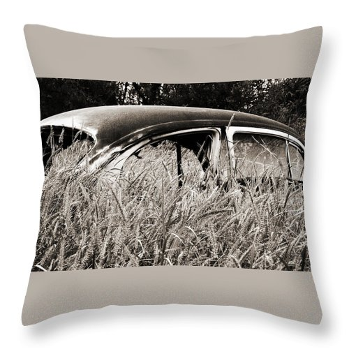 Volkswagen Throw Pillow featuring the photograph Bug In The Grass by Marilyn Hunt