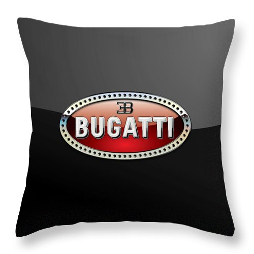 �wheels Of Fortune� Collection By Serge Averbukh Throw Pillow featuring the photograph Bugatti - 3 D Badge on Black by Serge Averbukh