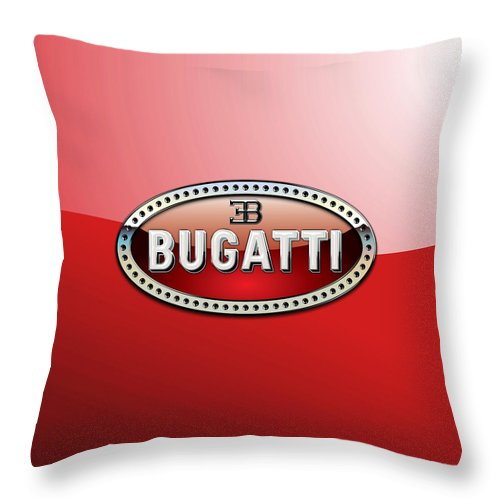 �wheels Of Fortune� Collection By Serge Averbukh Throw Pillow featuring the photograph Bugatti - 3 D Badge on Red by Serge Averbukh