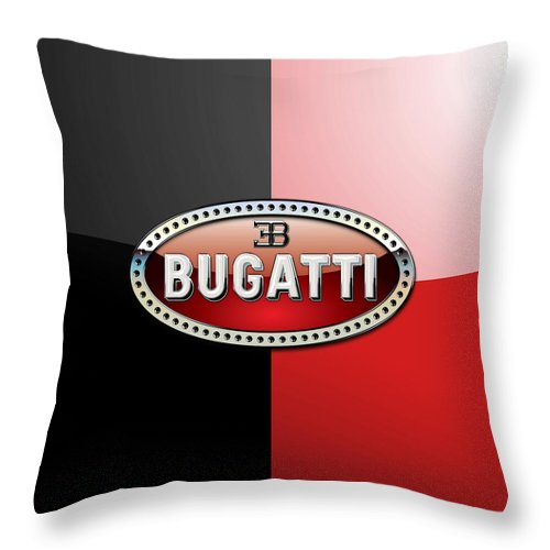 Wheels Of Fortune By Serge Averbukh Throw Pillow featuring the photograph Bugatti 3 D Badge on Red and Black by Serge Averbukh