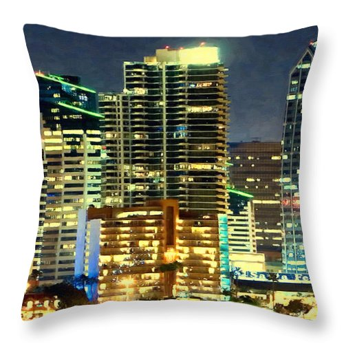 Night Throw Pillow featuring the painting Building At Night With Lights by Jeelan Clark