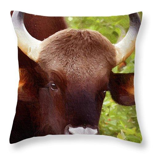 Bull Throw Pillow featuring the digital art Bull by Anna J Davis