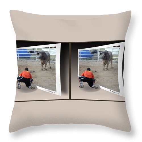 3d Throw Pillow featuring the photograph Bull Challenge - Gently Cross Your Eyes And Focus On The Middle Image by Brian Wallace