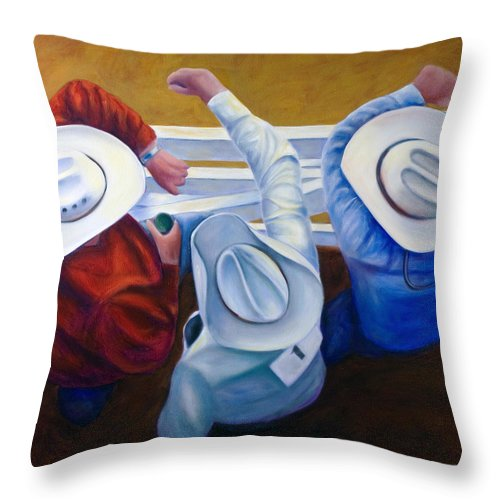 Western Throw Pillow featuring the painting Bull Chute by Shannon Grissom
