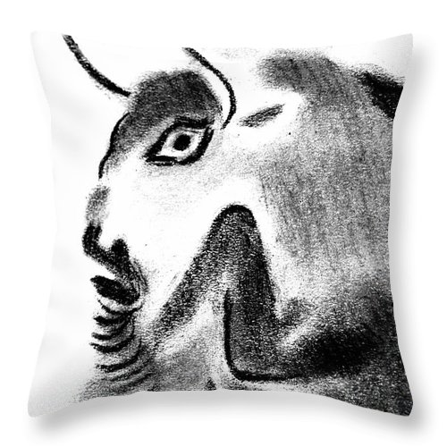 Bull Throw Pillow featuring the drawing Bull by Michal Boubin