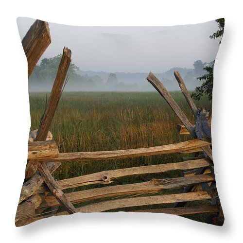 Fence Throw Pillow featuring the photograph Bull Run Virginia by Heidi Poulin