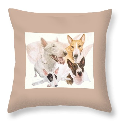 Purebred Throw Pillow featuring the mixed media Bull Terrier W/ghost by Barbara Keith