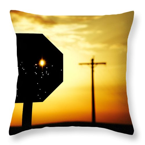 Stop Throw Pillow featuring the photograph Bullet-riddled Stop Sign by Todd Klassy