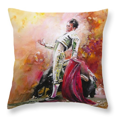 Animals Throw Pillow featuring the painting Bullfight 24 by Miki De Goodaboom