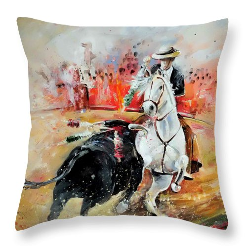 Toros Throw Pillow featuring the painting Bullfight 3 by Miki De Goodaboom