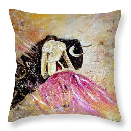 Animals Throw Pillow featuring the painting Bullfight 74 by Miki De Goodaboom