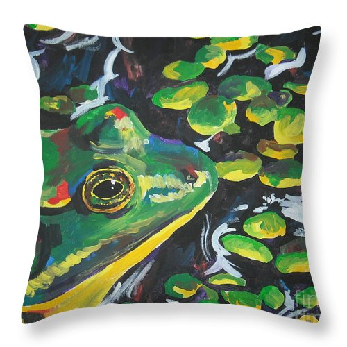 Bullfrog Throw Pillow featuring the painting Bullfrog by Caroline Davis